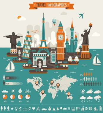 Travel Infographics, Elements and Famous Landmarks.