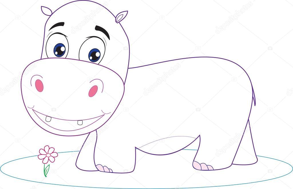 behemoth caballo del río, hipopótamo. dibujos animados. para ...