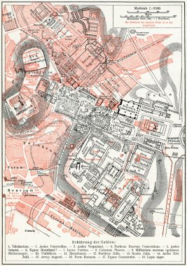 Map of Imperial fora and the Palatine Hill. Rome. Publication of the book
