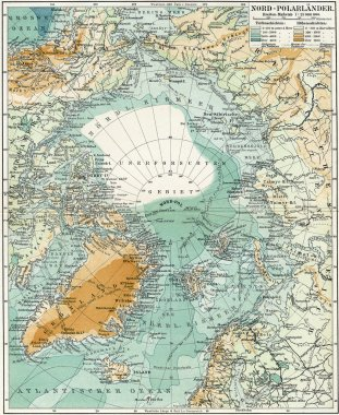 North Pole. Map of the ocean, islands and land around it. Publication of the book