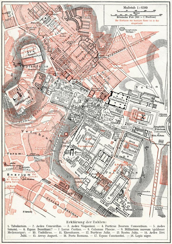 Map Of Imperial Fora And The Palatine Hill Rome Publication Of The