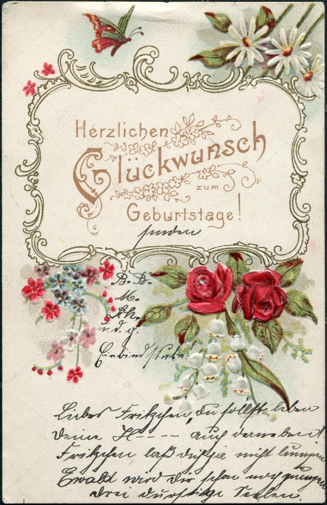 grattis tyska tyska vykort hälsning,