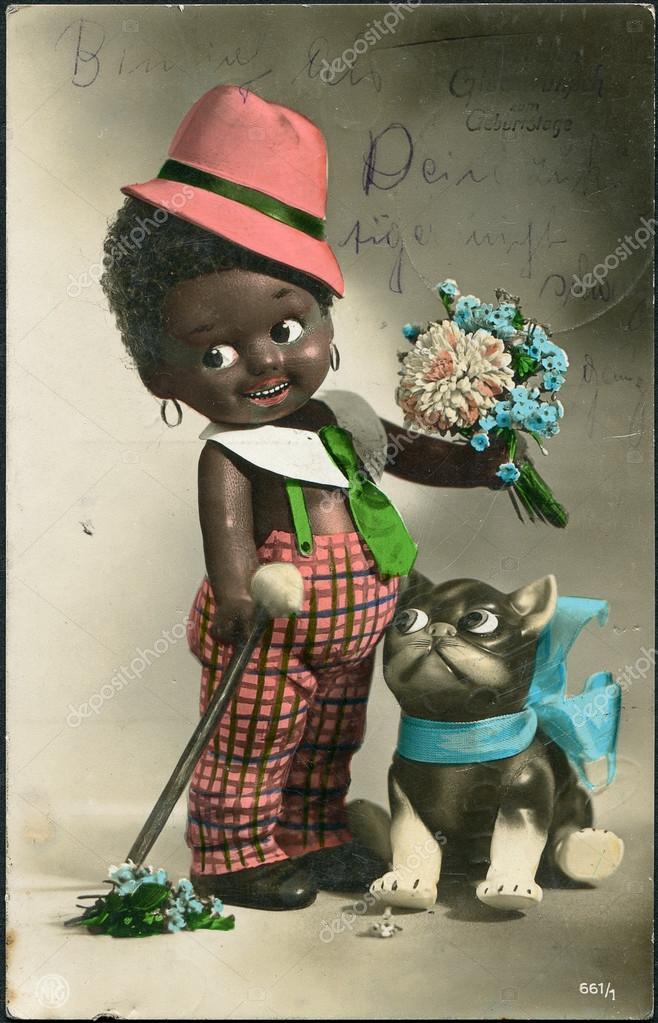 všechno nejlepší k narozeninám německy Německo v roce 1928. staré pošty přání. černý chlapec s kočkou a  všechno nejlepší k narozeninám německy