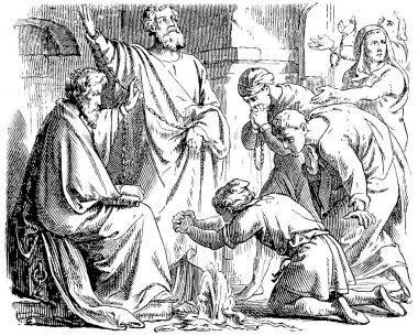Old engraving. Saint Peter and Saint Paul in Mamertine Prison.
