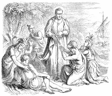 Old engravings. Depicts Saint Francis Xavier.