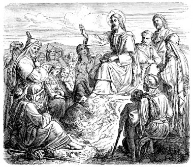 Old engravings. Jesus says to the Mount of Olives sermon