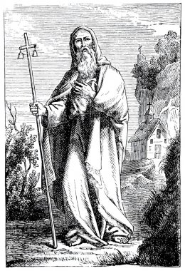 Old engravings. Portrayed Anthony the Great.