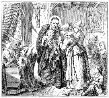 Old engravings. Depicts St. Vincent de Paul and the Daughters of Charity