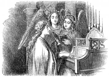 Old engravings. Depicted Saint Cecilia