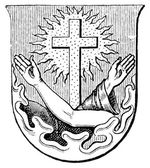 Fotografie Coat of Arms Order of Friars Minor. The Roman Catholic Church. Publication of the book Meyers Konversations-Lexikon, Volume 7, Leipzig, Germany, 1910