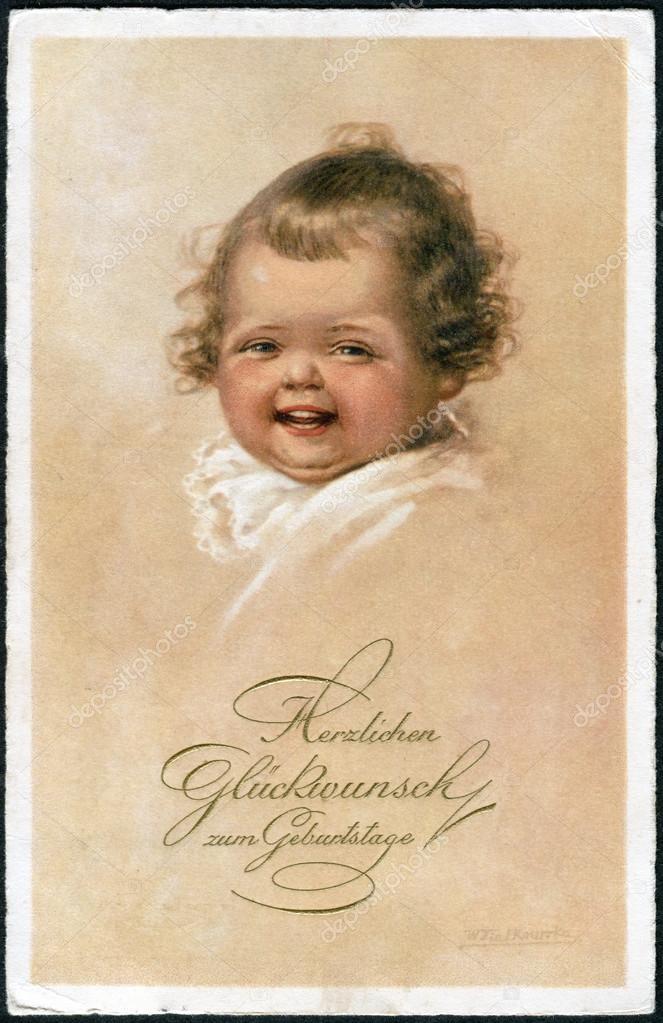 blahopřání k narozeninám v němčině staré německé pohlednice 1931. Zobrazuje radostné spokojené  blahopřání k narozeninám v němčině