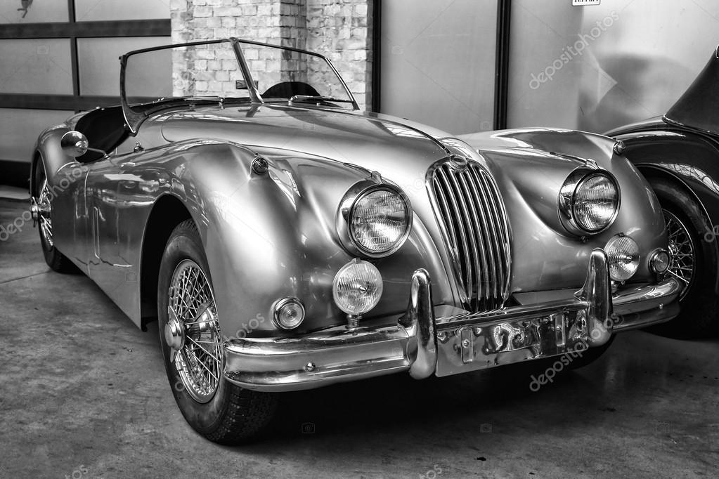 Sport Car Jaguar XK140 Roadster, (black And White) U2014 Fotografia De Stock