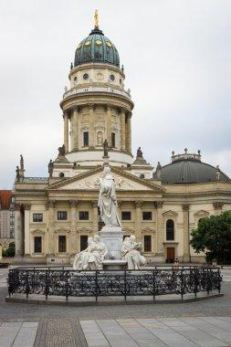 German Cathedral and statue of Friedrich von Schiller on Gendarmenmarkt. Berlin. Germany.
