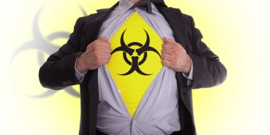 Business man with biohazard symbol t-shirt