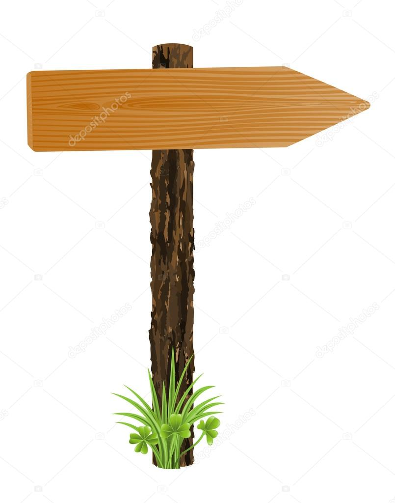 Blank wooden pointer, sign board with grass