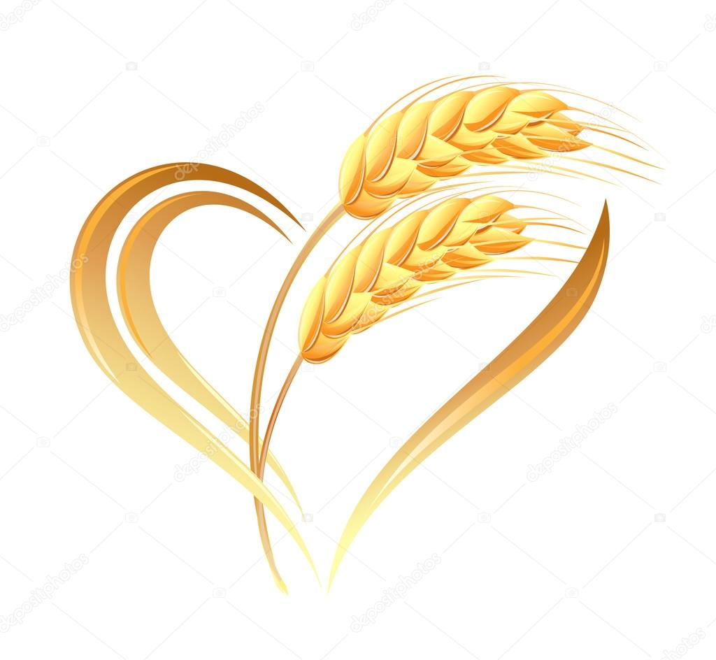 Abstract wheat ears icon with heart element