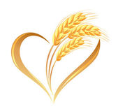 Fotografie Abstract wheat ears icon with heart element