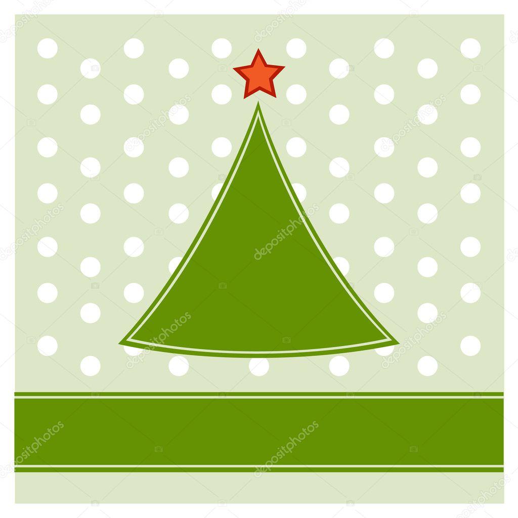 Simple Christmas tree on polka dot pattern background — Stock ...
