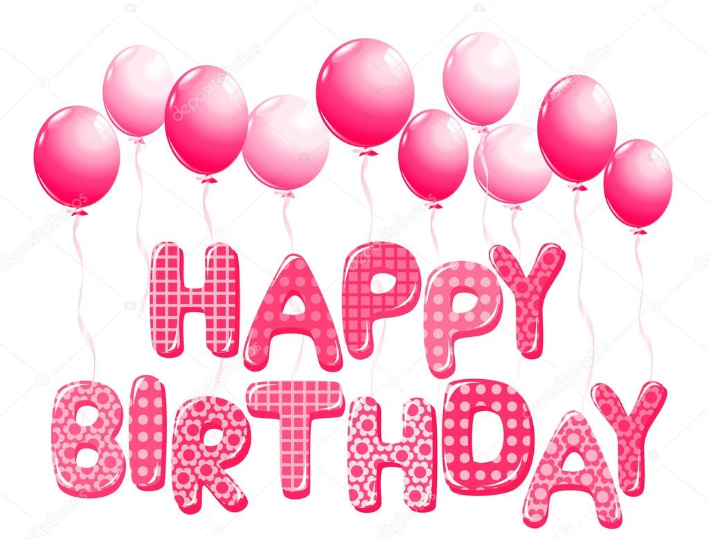 happy birthday letters in pink with balloons stock vector