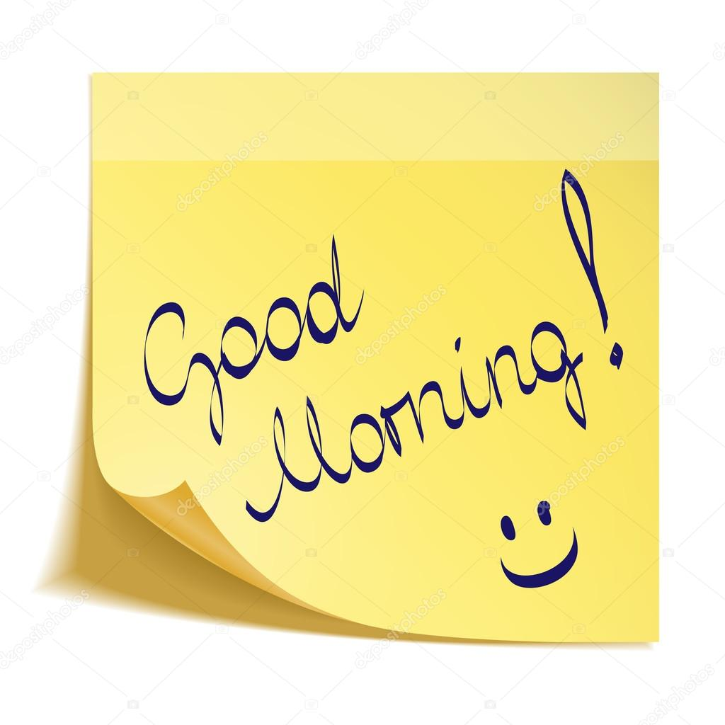 Good Morning Note With Smiley Stock Vector Tatus 46717765
