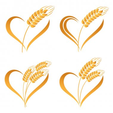 Set of abstract wheat ears icons with heart element