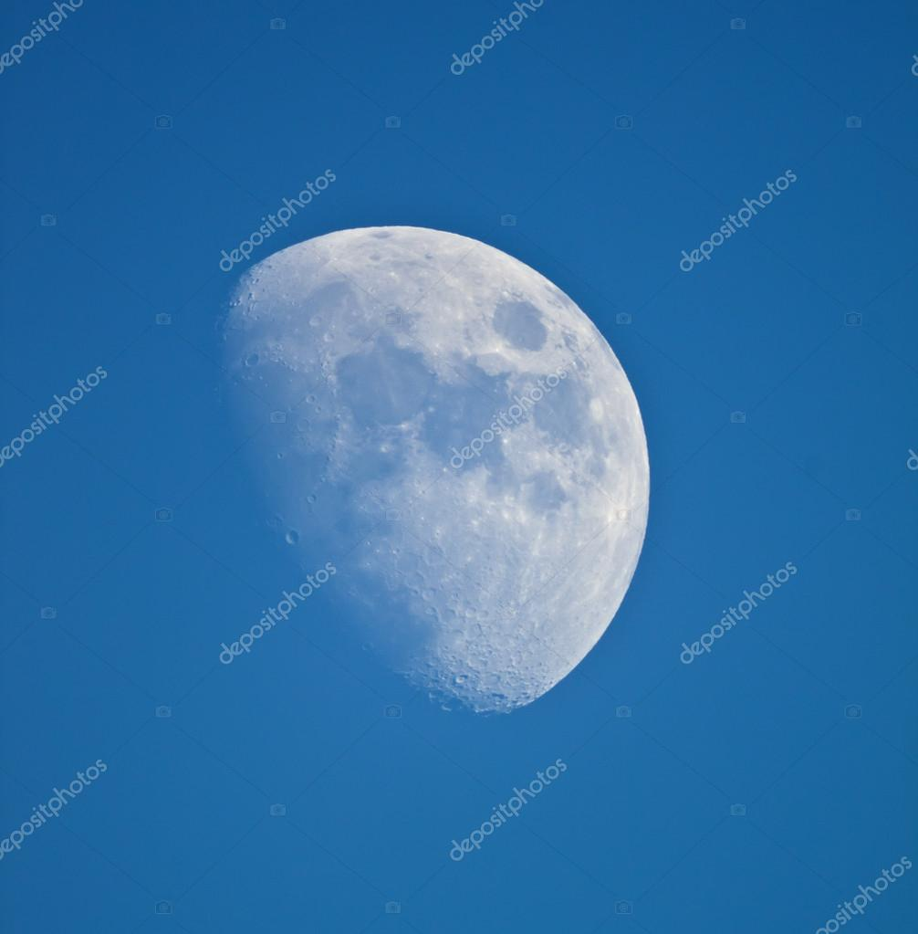 Moon on blue sky.