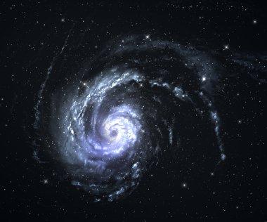 Spiral galaxy with starfield background.