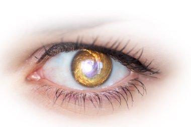Eye and galaxy. Concept photo.