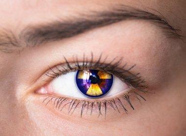 Eye with radiation symbol.