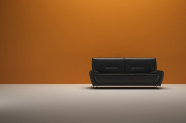 Background Orange Wall with sofa