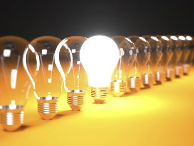Isolated Light Bulbs in line