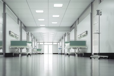 Empty hospital floor - High quality render stock vector