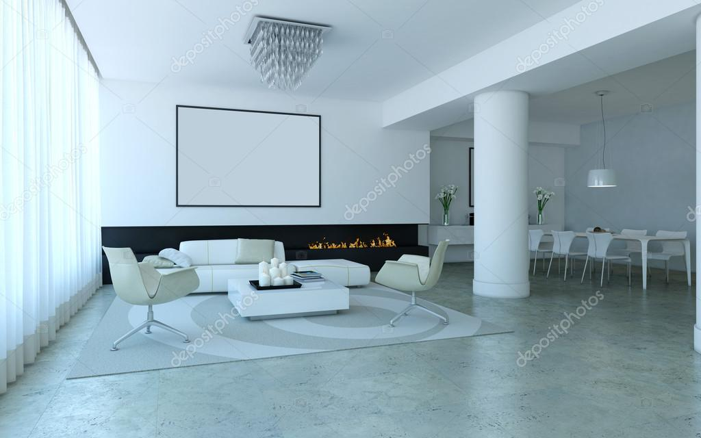 White minimalist lounge style living and dining room for Minimalist lounge