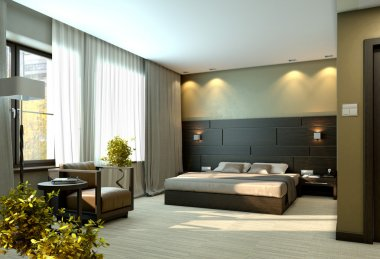 Modern luxury beige elegant bedroom interior