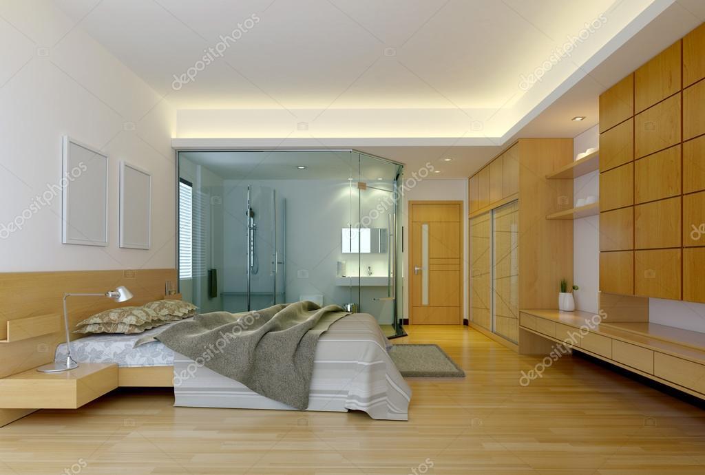 moderne hotelzimmer mit bad stockfoto 12802362. Black Bedroom Furniture Sets. Home Design Ideas