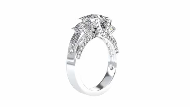 Wedding silver diamond ring rotating