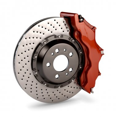 Brake Disc and Red Calliper from a Racing Car isolated on white