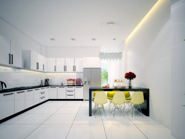 Modern contemporary white Kitchen with dining