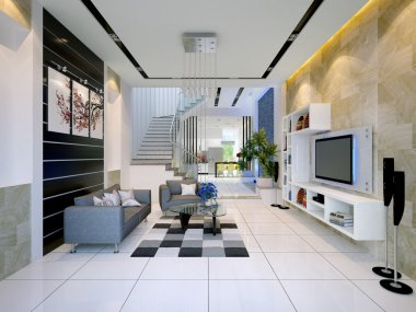Interior of a modern house with living room and dining