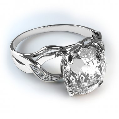 Wedding silver diamond ring isolated on white background