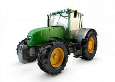 Modern powerful green farm tractor isolated on white background