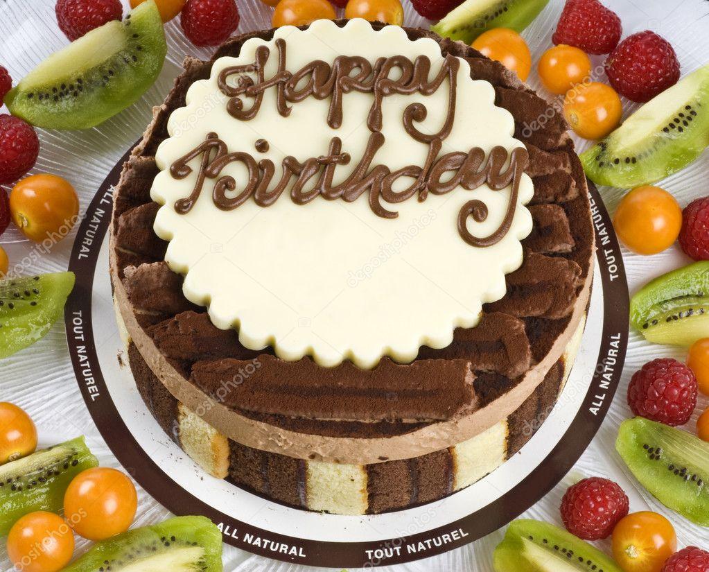 Triple Chocolate Mousse Birthday Cake With Fruits Stock Photo