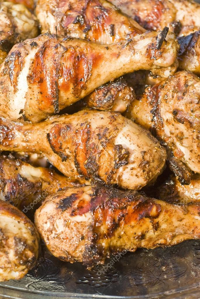 Plateful of Barbecued Jerk Chicken Drumsticks