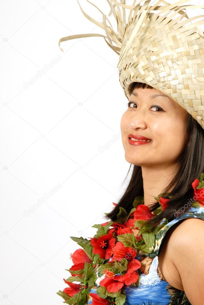 ragazza hawaiana con cappello di paglia — Foto Stock © chiyacat ... da93f8feb476