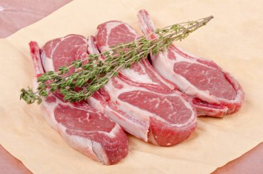Raw Lamb Chops on Paper