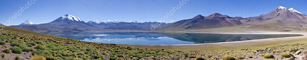 Panorama of Miscanti Lagoon Altiplano Chile