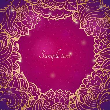 Floral curl design template frame