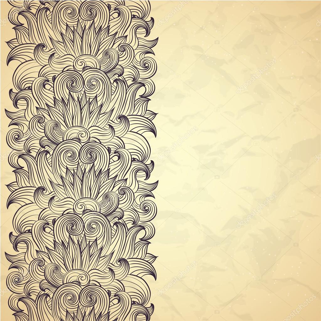 Orientalische Blumen paisley Grenze — Stockvektor © Lunarus #32123677
