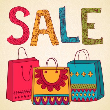 Sale banner with bags