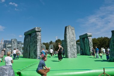 Jeremy Deller's Sacrilege a replica bouncy castle Stonehenge.